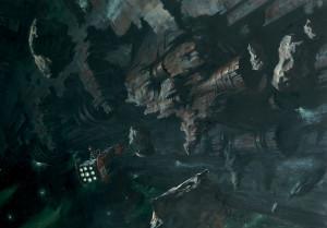 А это корабль с терминаторами на борту подлетает к  Space Hulk'у