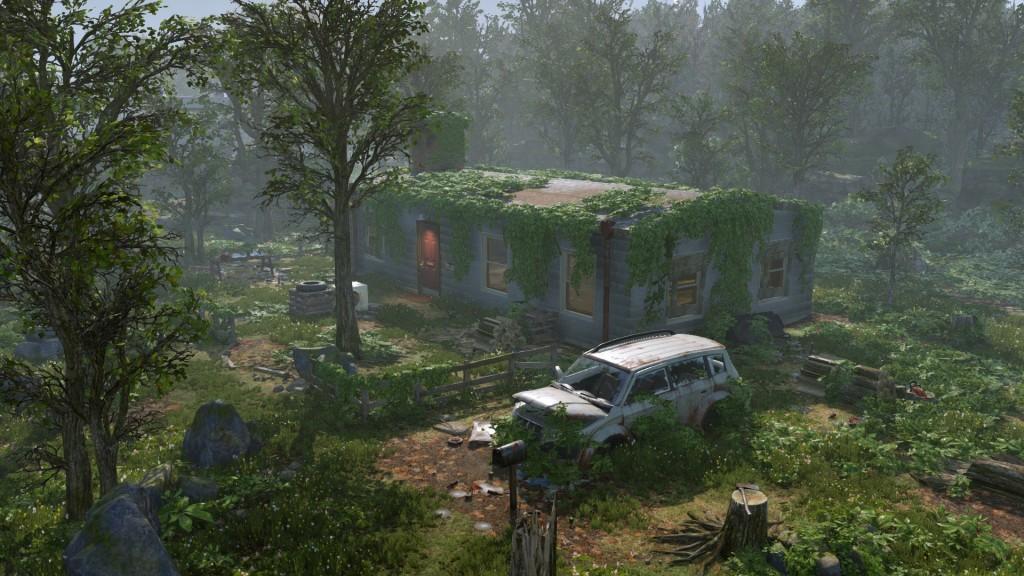 Загородний домик и разрушенная тачка.